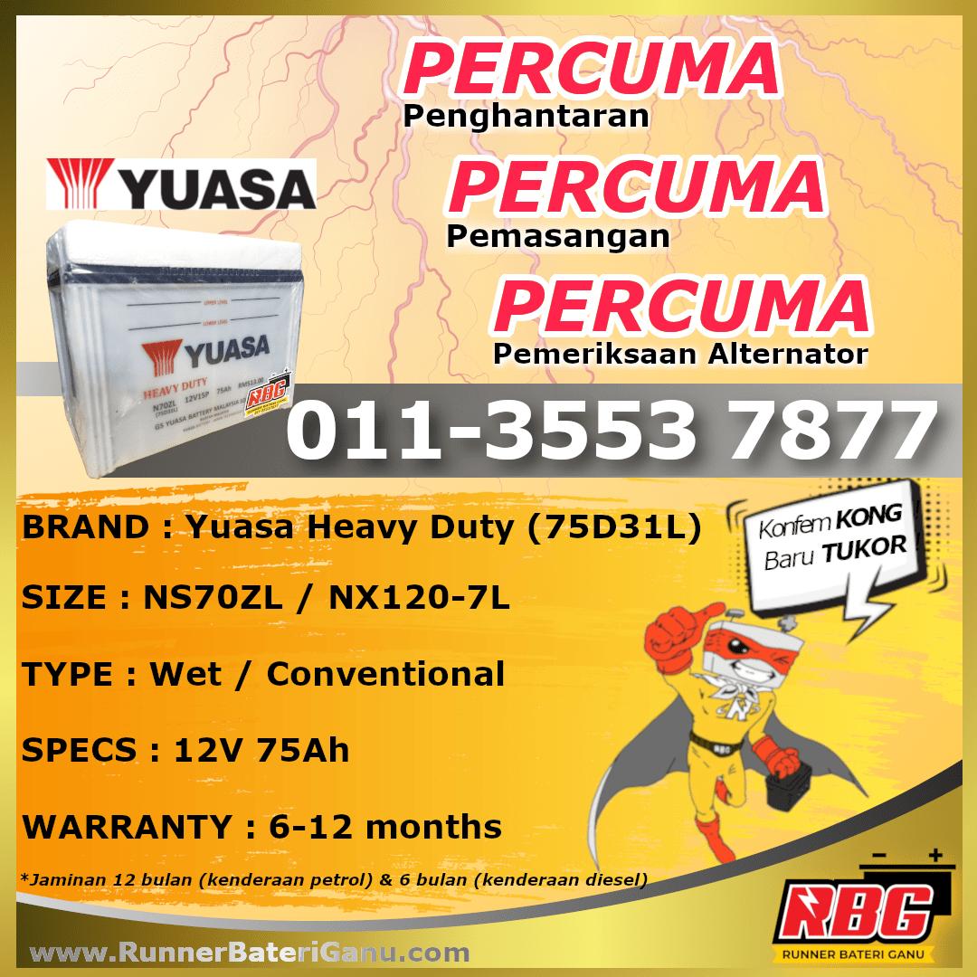 NS70ZL-Yuasa Heavy Duty 75D31L-min