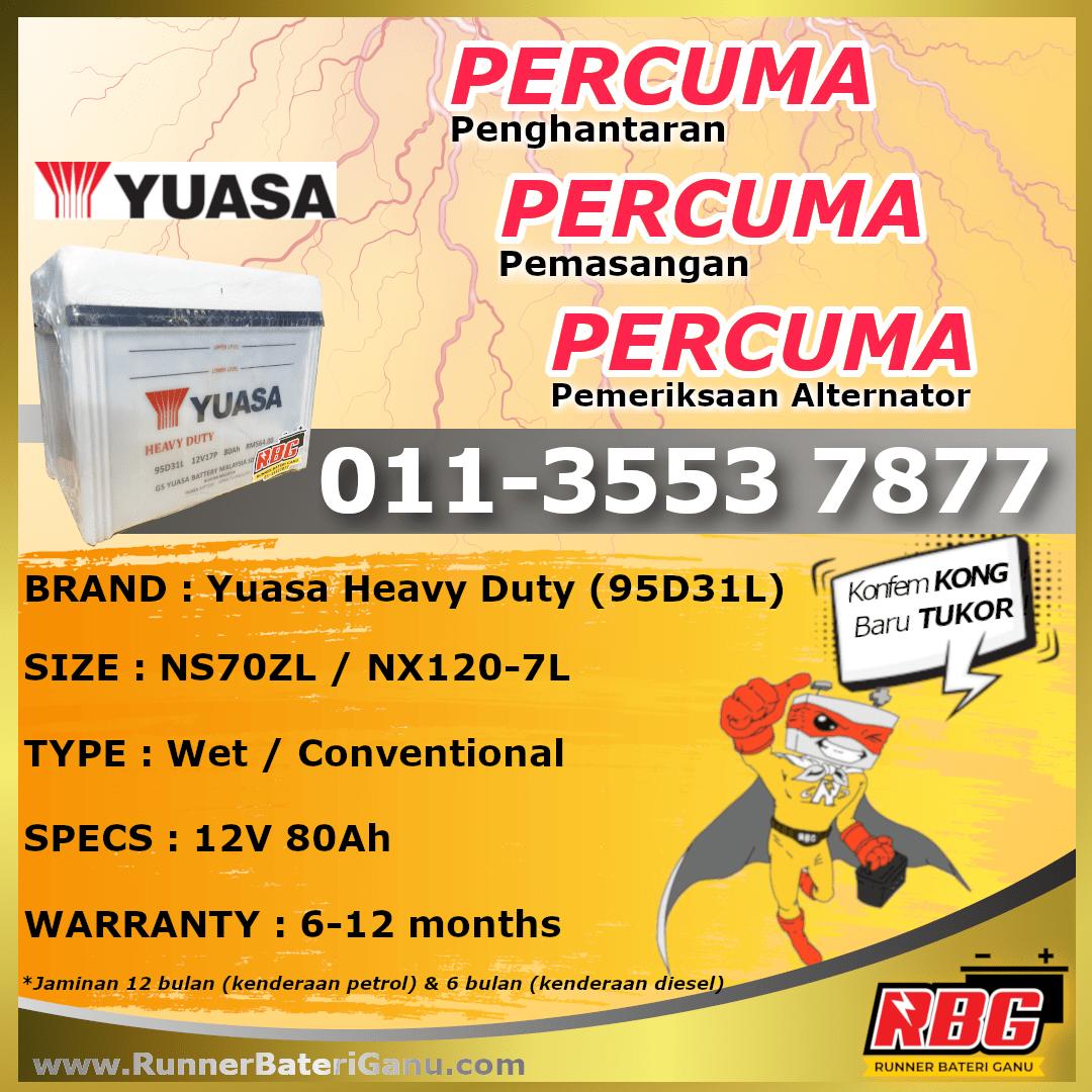 NS70ZL-Yuasa Heavy Duty 95D31L-min